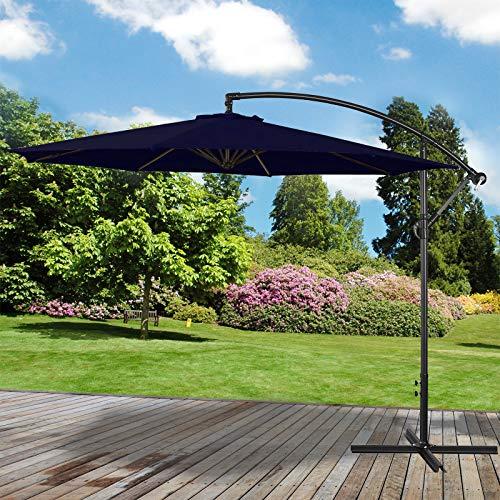 Marko Outdoor Navy 3M Overhanging Parasol Cantilever Garden Sun Shade Patio Banana Large Umbrella