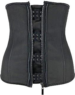 مشد الخصر للنساء مشد الجسم بسحاب حزام مشد أسود ملابس داخلية مقاس زائد (اللون: أسود، المقاس: XX-Small)