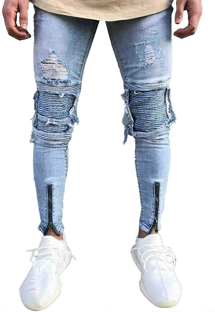 Ripped Frayed Skinny Jeans Limited price for Men Casual shop Slim Denim T Pants Fit