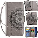 Vofolen 2 in 1 Case for iPhone 6 Case iPhone 6S Case Wallet Folio Flip PU Leather Case Protective Hard Shell Magnetic Detachable Slim Back Cover Card Holder Slot Wristband for iPhone 6 6S Mandala Grey