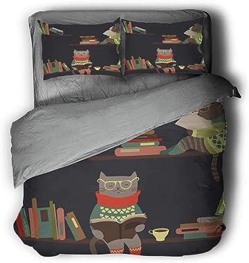 Flyerer Funny Bookshelf Cat Reading Thick Quilt Suit Light Comforter Queen