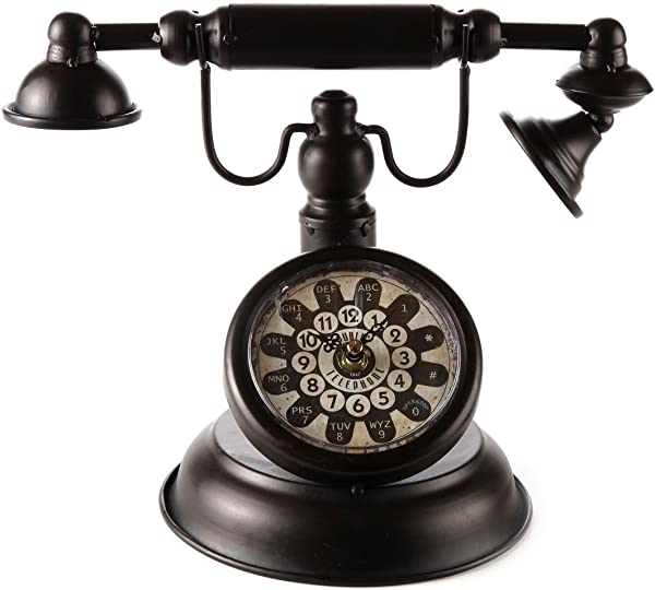 Lily S Home Old Fashioned Rotary Telephone Clock Makes Ann Excellent Accent Piece For Any Room Black