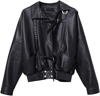 Women's Classic Short Faux Leather Jacket Loose PU Moto Biker Coat Outwear