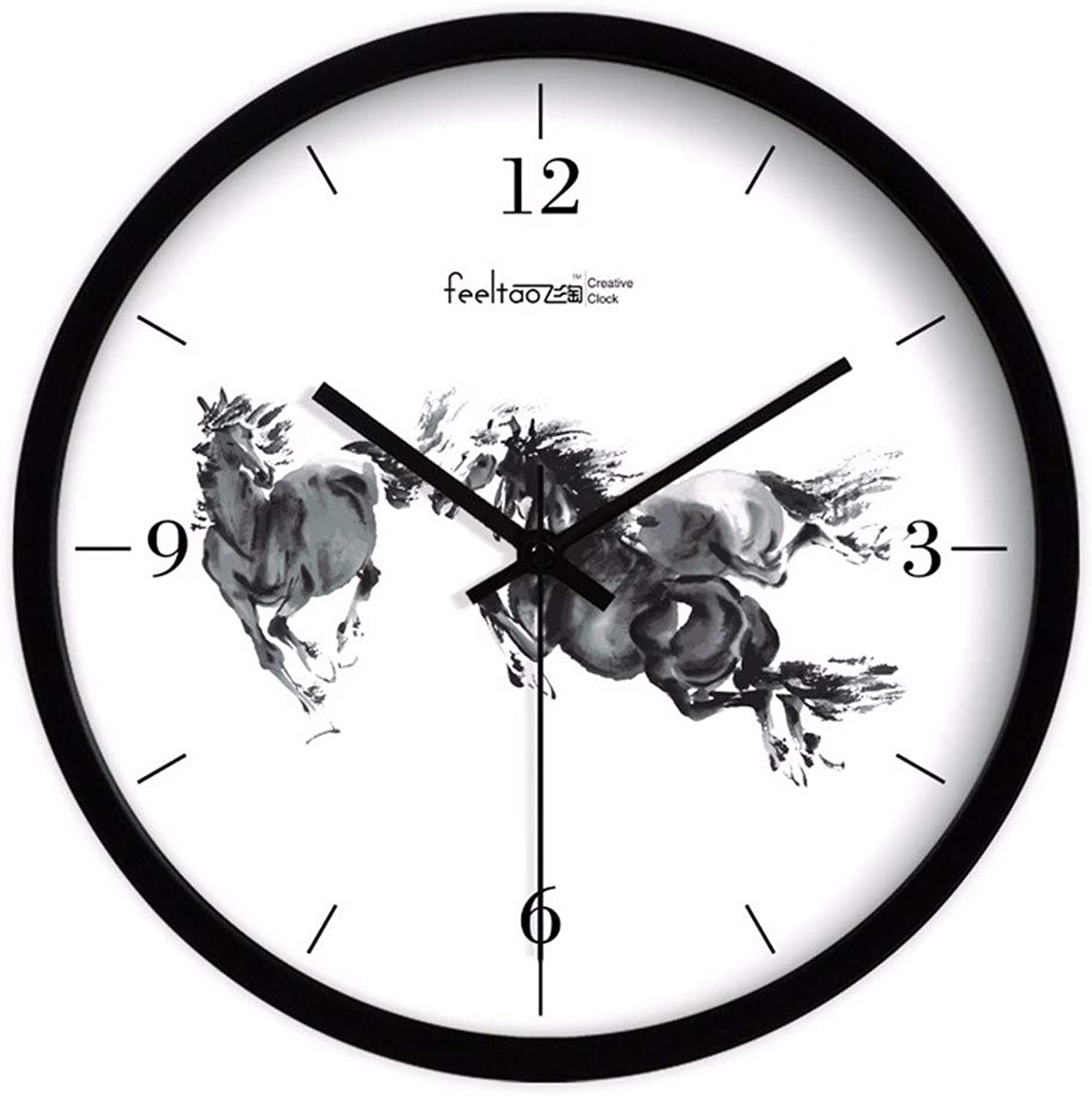 Wall Clock Clock Ink Living Room Study Office Clock Mute Club Hanging Table 14 inches Metal Black Frame