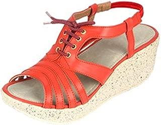 Women's Partywear Leather Fashion High Heel Sandal Orange Color (Size 9)