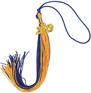COKOSIM Two-Colored Graduation Tassel with Gold 2019 Year Charm 9-inch (Royal Blue/Gold)
