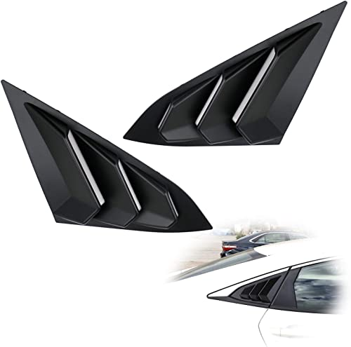 iJDMTOY Left/Right Black Finish Racing Style Rear Side Window Scoop Air Vent/Louver Shades Compatible With 2016-up Ho...