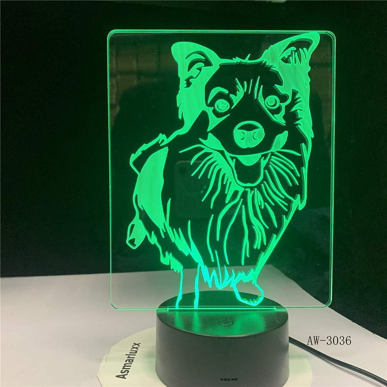 KKXXYD Bedside 7 colors Changing Shepherd Modelling Desk Lamp Led 3D Dog Night Light Decor USB Baby Sleep Lighting Gift