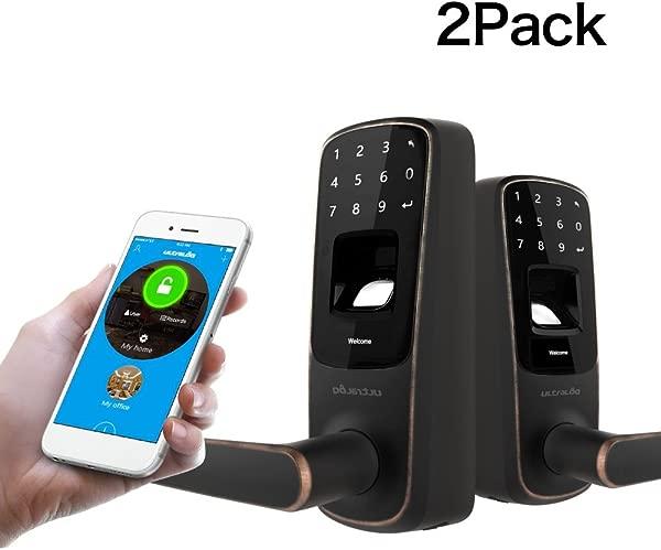 2 Pack Ultraloq UL3 BT Bluetooth Enabled Fingerprint And Touchscreen Smart Lock Aged Bronze