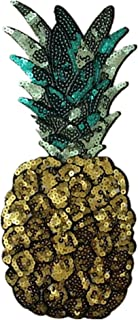 Ximkee Extra Large Pineapple Sequins Sew on Applique Embroidered Patches
