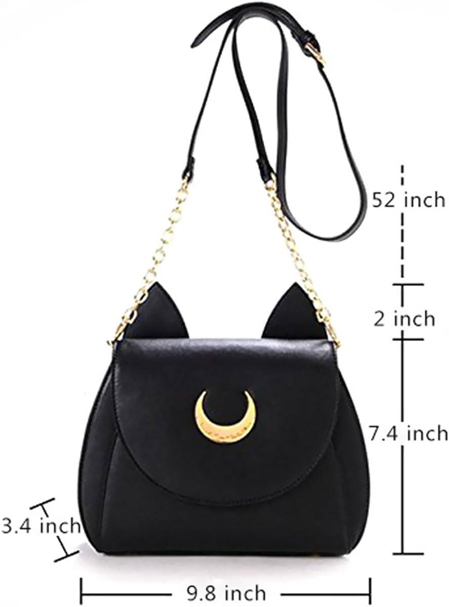 AKStore Women's Handbag Cat Purses Cosplay Sailor Moon Bag PU Leather Black