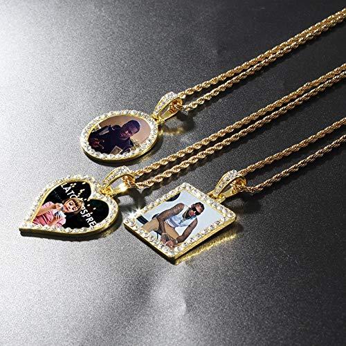 Personalisierte Foto-Memory-Medaillons quadratischer runder Herz-Anhänger aus Edelstahl, Hip-Hop-Schmuck, kubanische Kette, 56 cm