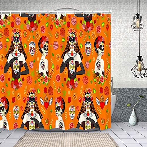 MAYUES Cortina de Ducha Impermeable patrón sin Costuras mexicanas Hermosas Mujeres Dia Cortinas baño con Ganchos Lavable a Máquina 72x72 Inch