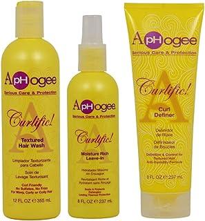 "ApHogee Curlific Textured Hair Wash 12oz + Moisture Rich Leave-In + Curl Definer 8oz""Set"""