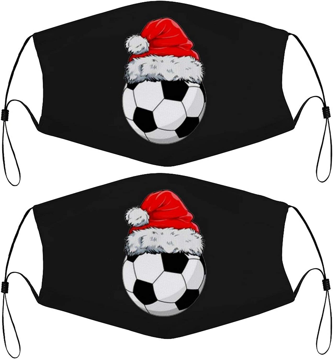 Christmas Soccer Ball Kids Face Masks Set of 2 with 4 Filters Washable Reusable Breathable Black Cloth Bandanas Scarf for Unisex Boys Girls