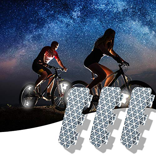 Riding Bike Bicycle Warning Reflector, Bicycle Reflective Tape, Wheel Luminous Stickers Paste waterproof Decoration, Bike Reflector for Your Night Ride Safely with Style, No Air Drag (3PC)