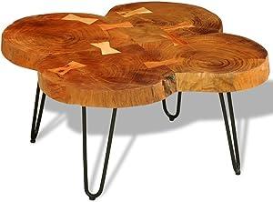 vidaXL Tavolino da caffè in Legno Massello di Sheesham 35 cm 4 Tronchi Salotto