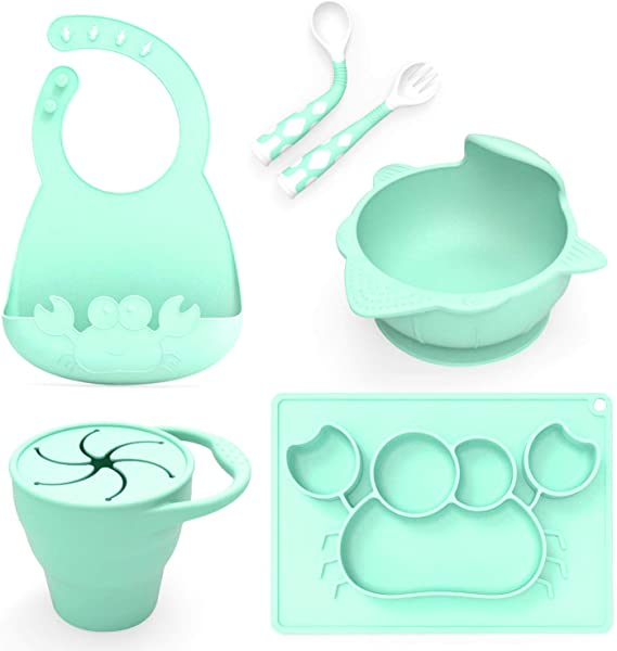 Baby Feeding Set Including Bowl With Suction Dish Bendable Fork And Spoon Adjustable Baby Bib And Snack Cups Harmless Silicone Easy To Clean Again Perfect Infant Baby Shower Gift Green