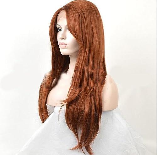 forma única AN-LKYIQI Las pelucas atan Europa y las señoras señoras señoras de las señoras de las mujeres de Estados Unidos marrón oscuro pelucas largas rectas de la fibra química  toma