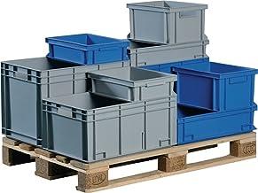 PROMAT transporte contenedores apilables 42L PP gris paredes laterales 1500mm. mediante Barril Mango