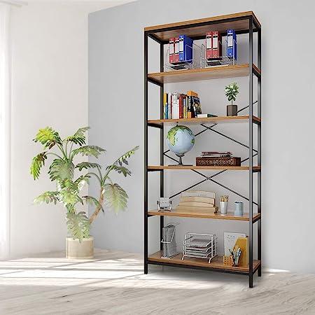 Oliote Industriel 5 Niveaux étagère, étagère de Rangement en Bois, étagères de Livres en métal, Grande bibliothèque, étagères de Rangement Debout Vintage étagères