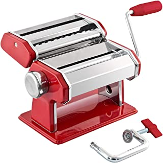 GOURMEX Stainless Steel Manual Pasta Maker Machine | With Adjustable Thickness Settings | Perfect for Professional Homemade Spaghetti and Fettuccini | Includes Removable Handle and Clamp (Red)