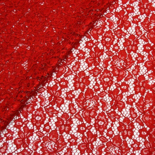 MAGAM-Stoffe Carmen Spitzenstoff Blumen-Spitze Bekleidung Deko Meterware 50cm (Rot)