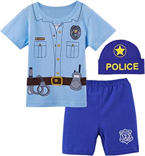 Baby Boys' Police Costume Short Sleeve Outfits with Hat