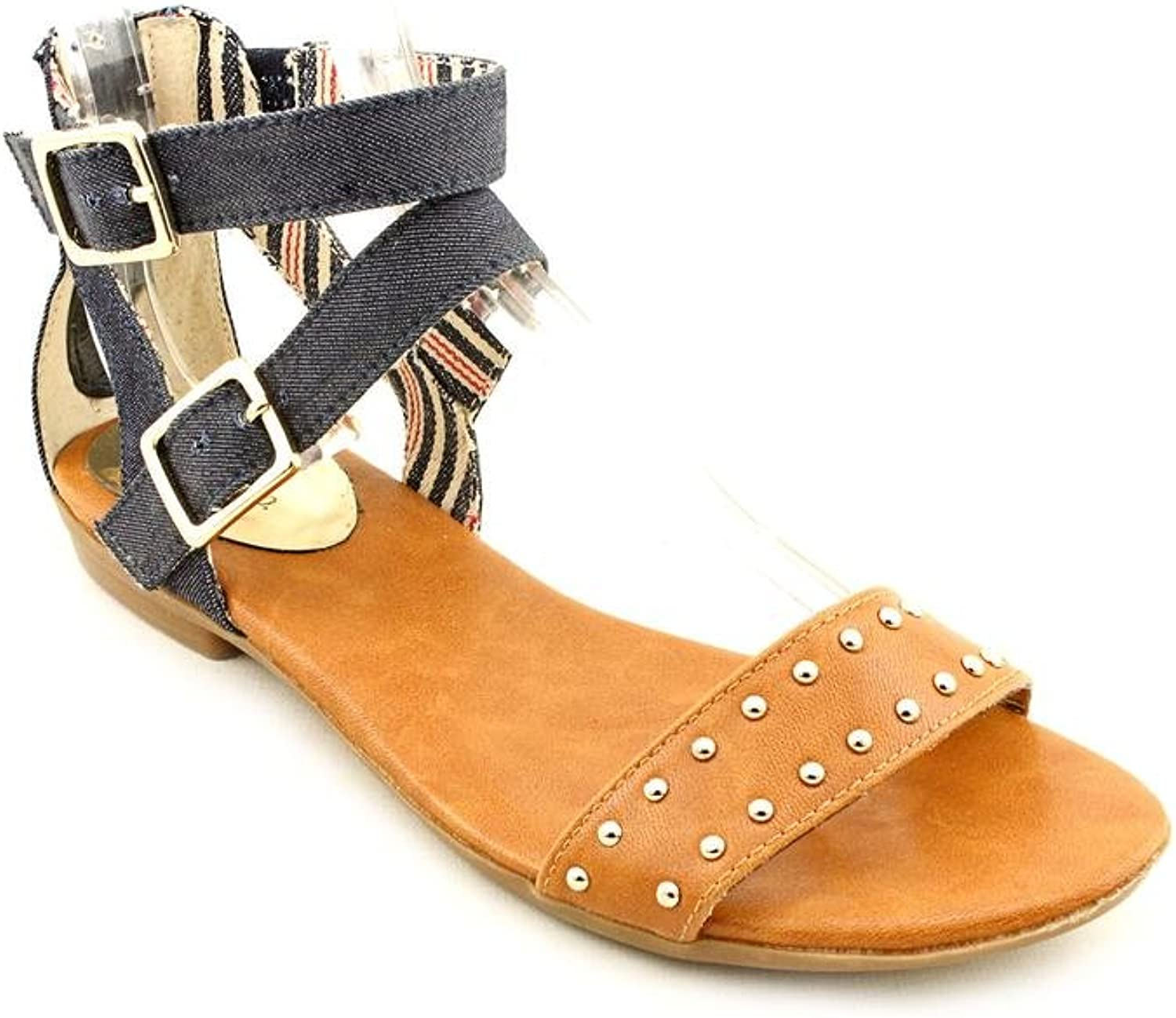 Style & Co. Henna Womens Size 9 Tan Open Toe Textile Dress Sandals shoes