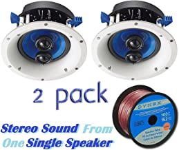 Yamaha Custom Easy-to-install In-Ceiling 2-Way 120 watts Moisture Resistant Single Stereo Speaker - Set of 2 with a 6.5 PP Mica Cone Woofer & Dual 1 Fluid-Cooled Soft-Dome Swivel Tweeter + 100 feet of 16 Gauge Speaker Wire