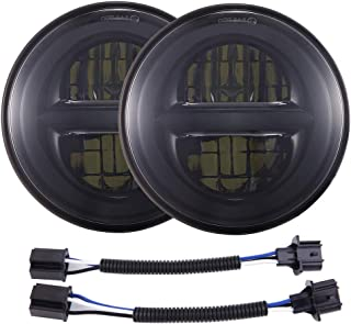 BICYACO DOT Approved 7 Inch Round Black LED Headlight High Low Beam for Jeep Wrangler JK TJ LJ CJ Hummer H1 H2 (1 Pair)
