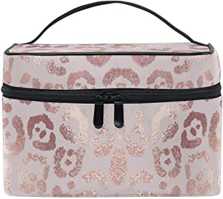 Rose Gold Leopard Makeup Bag Cosmetic Toiletry Travel Brush Bags with Zipper Beauty Train Case Carrying Portable Multifunc...