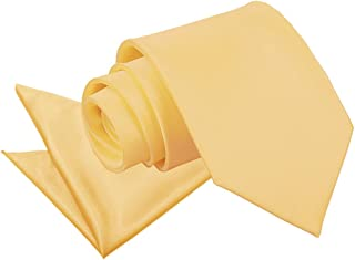 DQT Men Plain Satin Wedding Classic Neck Tie & Pocket Square Set