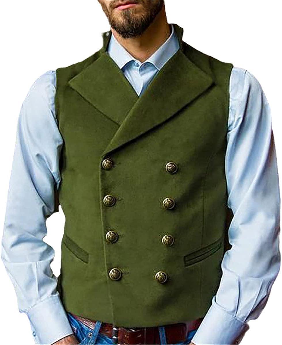 Retro suit vest men double breasted wedding prom dress vest vest casual slim fit steampunk vest