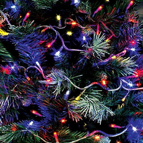The Christmas Workshop 70340 Multi-Coloured Outdoor Christmas Lights | 100 LED Christmas Tree Lights | 9.9 Metres Long | Battery Operated | Indoor/Outdoor Home Christmas Decorations | 8 Light Modes