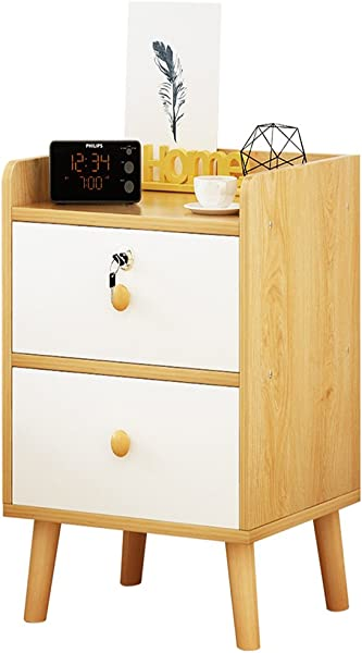 YXQ Bedside Table White Black MDF Production Locker Living Room Bedroom Mini 1 2 Layer Space Lock Design Drawer 6 Styles And 4 Sizes Bedside Table Color B Size 303953CM