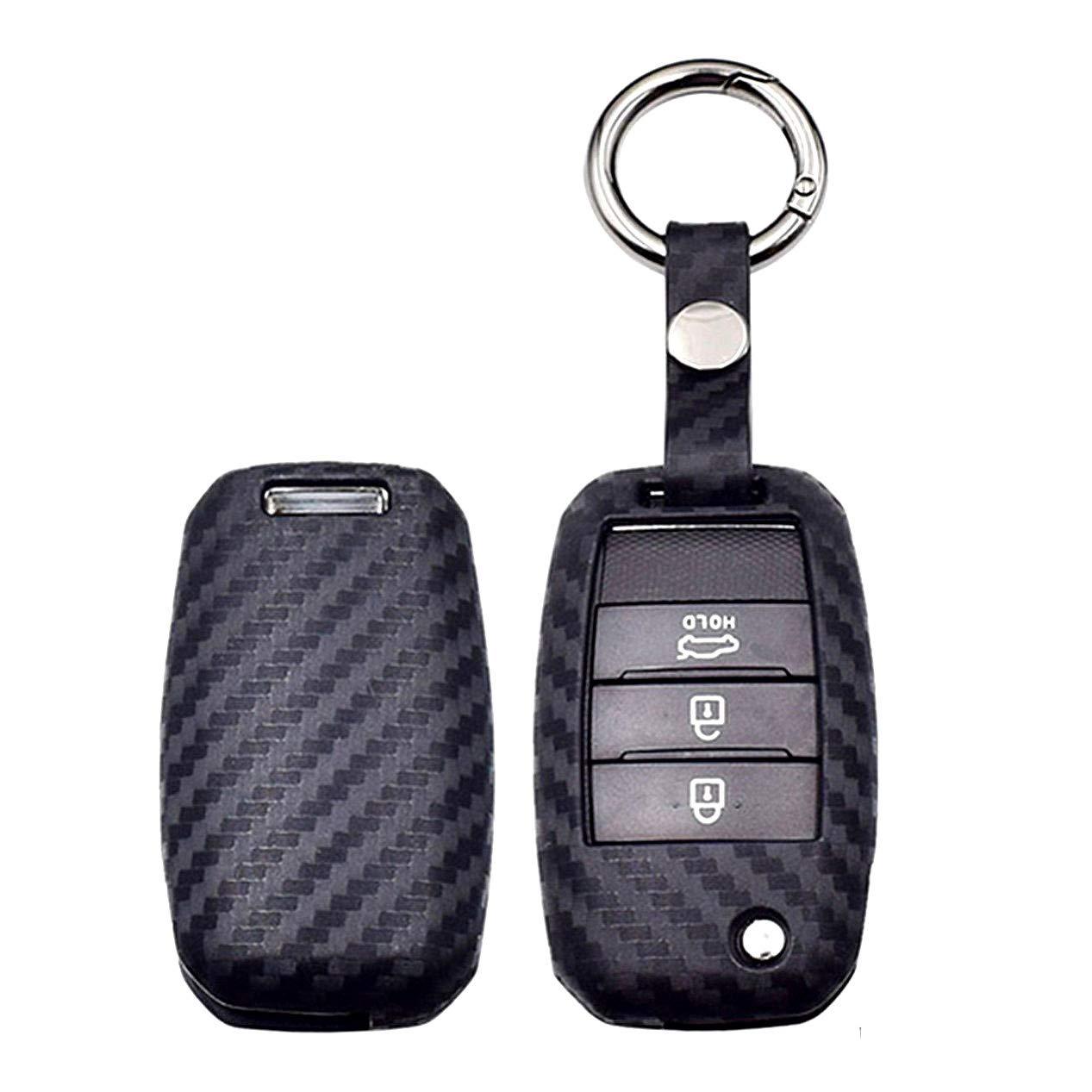 WFMJ 1x Red Silicone Key Cover 1x Red Keyring 3 Buttons Flip Key Chain Fob Cover for Hyundai Tucson Santa Fe i20 Creta Elantra