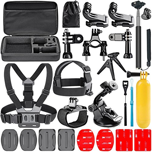 Navitech 18 in 1 Action Camera Accessories Combo Kit with EVA Case Compatible with The Aokon 4K Action Camera,