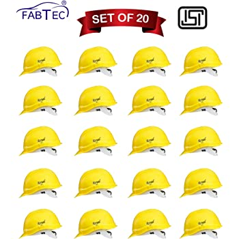 Fabtec Safety Helmet Head Protection for Outdoor Work Head Safety Hat with ISI Mark (Set of 20) (Yellow)