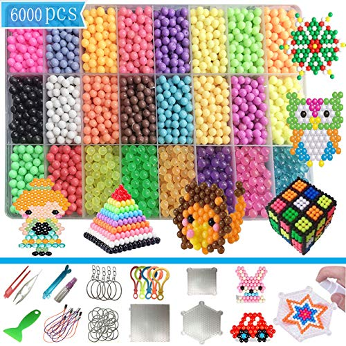 MOLYHUA 6000 PCS Water Fuse Beads Kit 24 Colors ( 6 Jelly) Mega Bead Water Spray Beads Set Sticky Beads for Kids Beginners Refill Pack Educational Toys