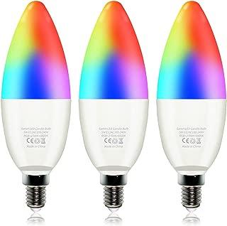 LEKE Smart Light Bulb E12 LED Bulb Dimmable 2700k-6500k RGB Light Bulbs Color Changing Light Bulb Equivalent to 40w LED Candelabra Bulbs,Compatible with Amazon Alexa Google Home(3 Pack)