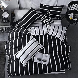 Chesterch Prevoster Microfiber Duvet Cover Set Black White Bedding Zebra Pattern,3 Piece,Stripe Comforter Cover and 2 Pillowcases,Full Queen Size