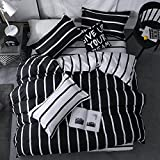 Chesterch Prevoster Microfiber Duvet Cover Set Black White Bedding Zebra Pattern,3 Piece,Stripe Comforter Cover and 2 Pillowcases,Twin Size