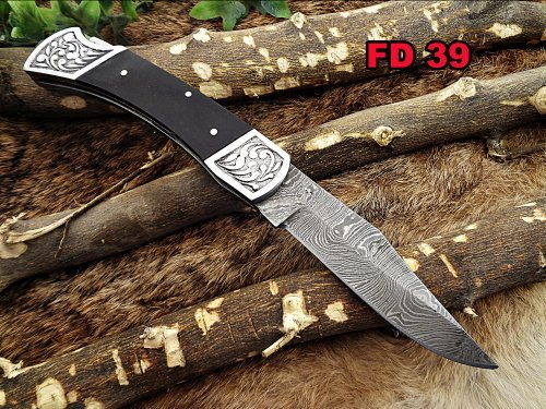 Damascus Steel Blade Back Lever Lock Folding Knife, Bull Horn Scale with Engraved Steel Bolster, Leather Sheath Included