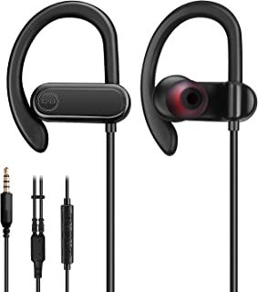 Wired Earbuds with Microphone, Sports Running Headphones [NOT Bluetooth] with Snug and Stable Ear Hooks, Gym Earphones for Heavy Workout Exercise with 3.5mm Audio Plug for Smartphones