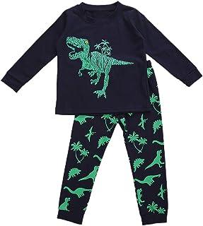 Carolilly Juego de 2 piezas de ropa de niño para niño, camiseta de manga larga con estampado de dinosaurio + pantalones pa...