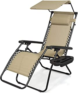 koonlert14 Zero Gravity Chair Outdoor Patio Porch Recliner Seats Comfortable Adjustable Padded Headrests Durable Textilene Fabric Backrest w/Sunshade Canopy & Cup Holder Tray - Set of 2 Beige #1939