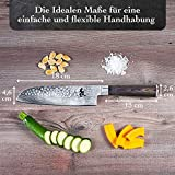 Kirosaku Premium Santoku Messer Damast 18cm - Enorm scharfes Santoku Japan Kochmesser aus hochwertigem Damaszener Stahl - Damastmesser Küchenmesser für ein fantastisches Schnitt Erlebnis - 5