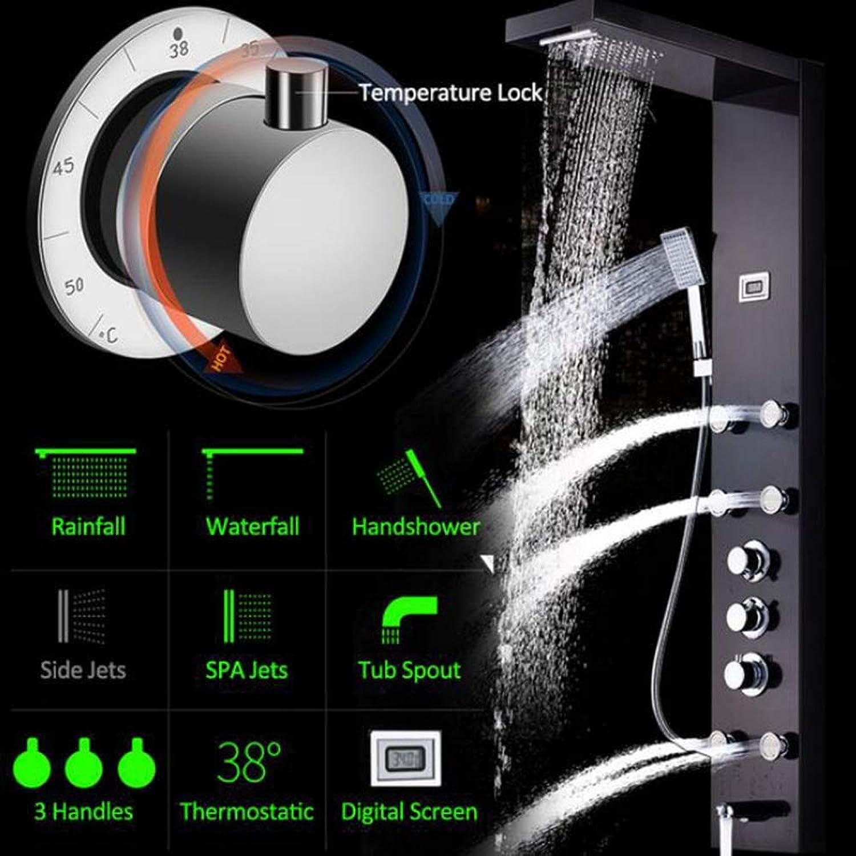 MICHEN Schwarz Nickel Niederschlag Wasserfall Duschpaneel Massagedüsen Duschsule Thermostatmischer Dusche Wasserhahn Turm Duschwanne Auslauf,schwarzed
