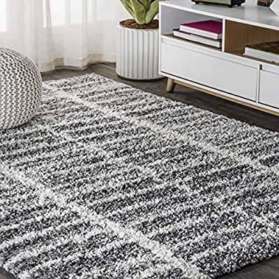 JONATHAN Y Merida Stacked Grid Shag Grey/Ivory 4 ft. x 6 ft. Area Rug, Bohemian, Easy Cleaning, For Bedroom, Kitchen, Living Room, Non Shedding